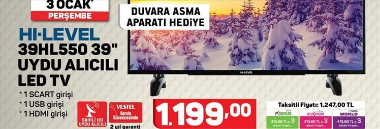 A101 Hi-level 39hl550 Uydu Alıcılı Led Televizyon Özellikleri ve Fiyatı