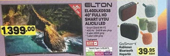 Elton EL40DLK0938 Smart Led Televizyon Fiyatı ve Özellikleri