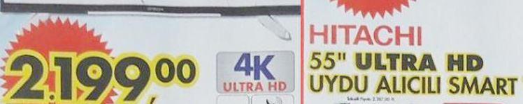 Hitachi 55 inç Ultra HD 4K Televizyon Özellikleri ve A101 Fiyatı