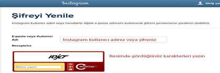 Instagram şifremi unuttum diyenler için şifre yenileme
