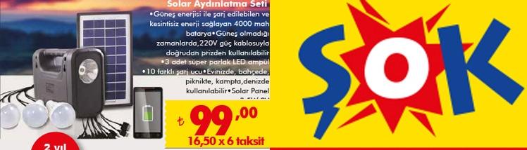 Solar Aydınlatma seti Şok Markette satılıyor