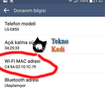 android telefonda mac adresi nasıl öğrenilir