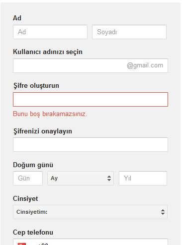 Gmail adresi açma