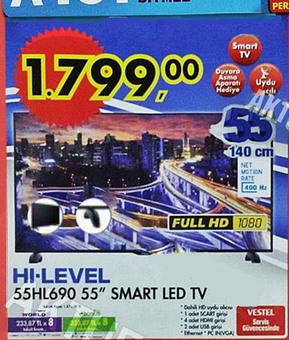 hi-level 55hl690 smart led televizyon