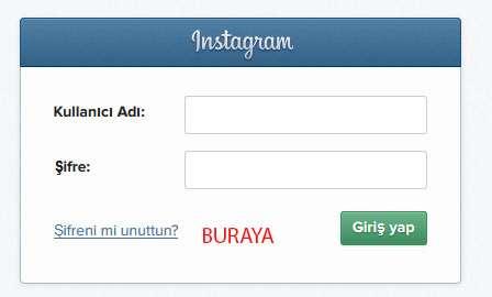 instagram şifremi unuttum