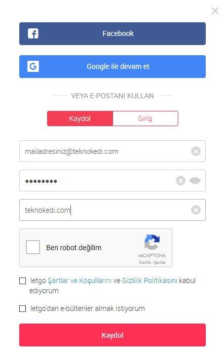 letgo kayıt ekranı