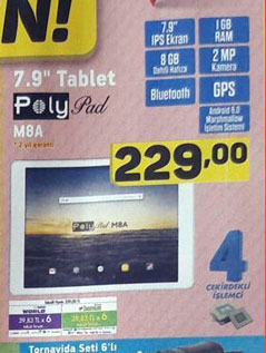 polypad m8a a101 fiyatı ve özellikleri