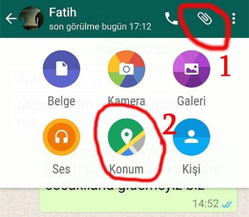 whatsapp konum atma