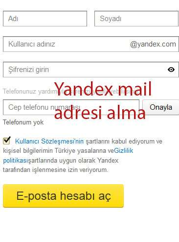yandex mail adresi alma